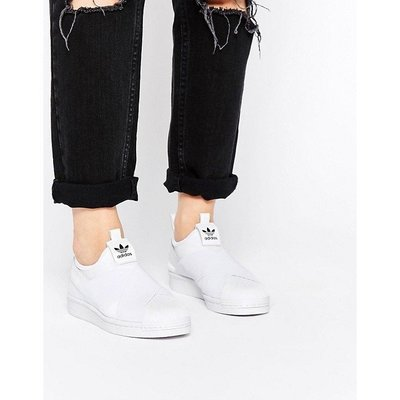 Adidas Superstar Slip On W 交叉綁帶 貝殼頭 懶人潮鞋 全白免運