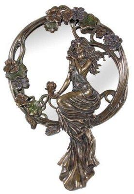 點點蘑菇屋{掛鏡}歐洲進口~立體浮雕仿古銅雕亞諾弗少女撫花大掛鏡 壁鏡 壁掛鏡 鏡子 玄關鏡 化妝鏡 梳妝鏡子 現貨