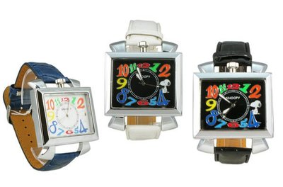 【卡漫迷】 史奴比 皮革 方形 手錶 二款選一 ㊣版  Snoopy 史努比 女錶 男錶 糖果色 超大鏡面 彩色數字