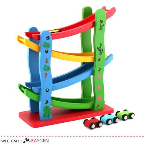 HH婦幼館 兒童趣味大尺寸木製慣性軌道滑車 益智玩具【3B090M215】