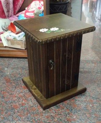 美生活館---全實木鄉村風家具--彩繪瑪格麗特羅馬柱 單門CD 收納櫃/角落櫃/花架桌(小)