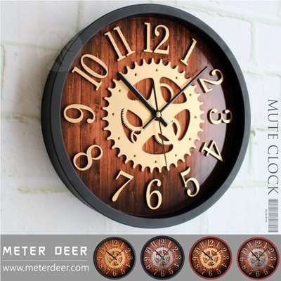 LOFT復古工業風掛鐘 高質感立體簍空齒輪數字刻度木紋造型有框靜音時鐘 商空店牆面裝飾品味擺飾設計師款掛鐘-米鹿家居