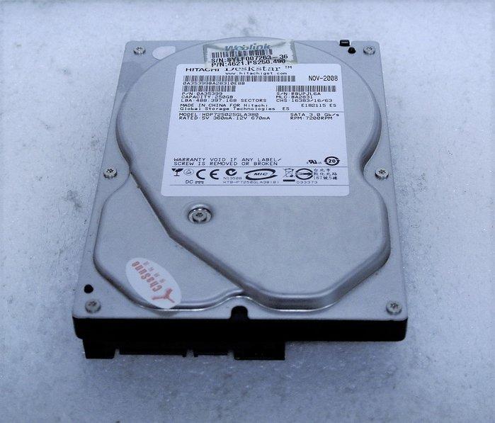 ~ 駿朋電腦 ~ 3.5吋 HITACHI日立 250G SATA介面 桌上型硬碟 測試正常 $200