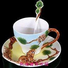 【凱迪豬生活館】琺瑯瓷 13443520509 松鼠摘果 立體陶瓷杯盤匙組KTZ-200975