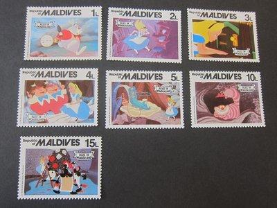 【雲品二】馬爾代夫Maldives 1980 Sc 887-93 Disney MNH 庫號#B501 87706