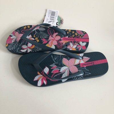 《現貨》Ipanema 女生 拖鞋 巴西尺寸33/34(花語系列 莫內花園 人字夾腳拖鞋-深藍色)