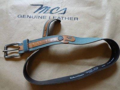 Marlboro Classics MCS 近新品萬寶路經典原廠絕版義大利製藍色單寧布真皮圖騰牛皮皮帶L號(2819)