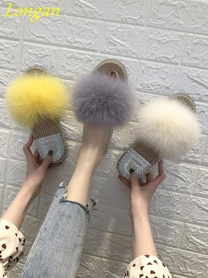 【Longan】一字毛毛拖鞋女夏外穿2019新款平底百搭韓版社會網紅涼拖休閑女鞋
