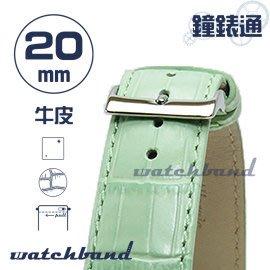 【鐘錶通】C1.24I《亮彩系列》鱷魚格紋-20mm 湖水綠┝手錶錶帶/皮帶/牛皮錶帶┥