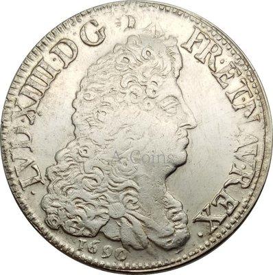 老董先生法國王國 路易十四2090黃銅鍍銀復制硬幣錢幣工藝品