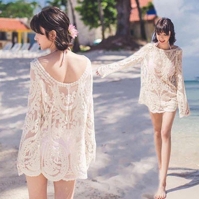 比基尼罩衫 女夏海邊度假溫泉泳衣外套網紗單件可下水防曬沙灘外搭