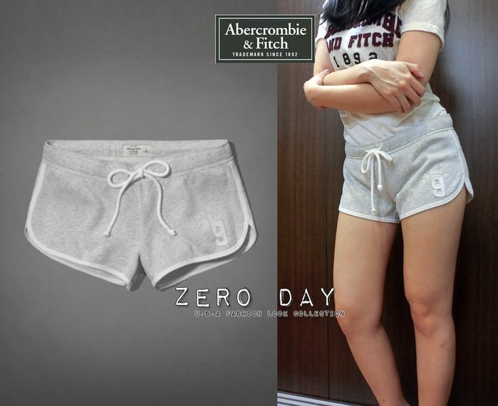 【零時差美國時尚網】A&F Abercrombie&Fitch Curved Hem Shorts燙銀刺繡貼布字母運動短褲棉褲-灰色