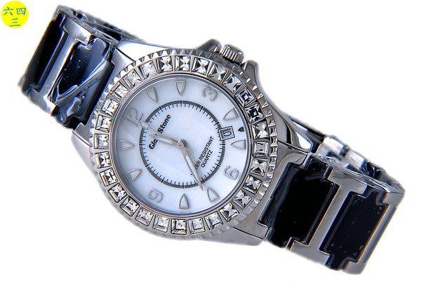 (六四三精品)GLSD STONE(真品)高檔黑陶瓷.不銹鋼.藍寶石水晶鏡面大型鑽錶!白面