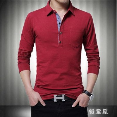 POLO衫春秋季上衣外套男士長袖T恤純棉紅有領口袋純色打底POLO衫加大碼 QG16653