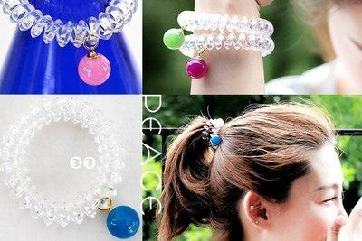 【PEACE33】正韓國空運進口。髮飾飾品 糖果圓球 透明電話線髮繩/髮圈/髮束/手環。現+預