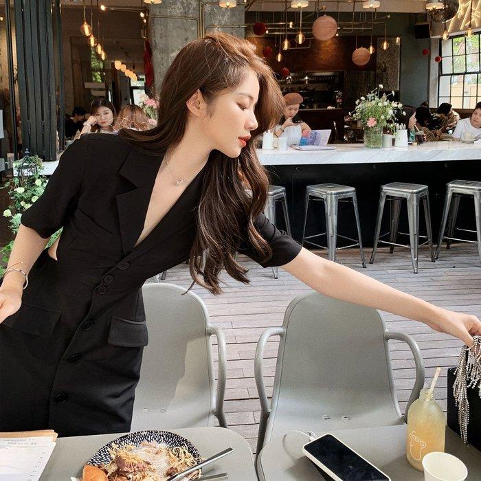 ❤Princess x Shop❤西裝裙露腰顯瘦修身中長款短袖氣質黑色連衣裙TJE9-76-4韓國同款女裝