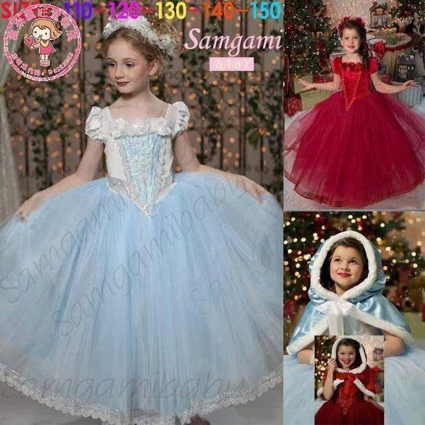 frozen冰雪奇緣elsa艾莎女王新款高貴公主禮服裙帶披肩女童連身裙耶誕氣氛  現貨--崴崴安兒童