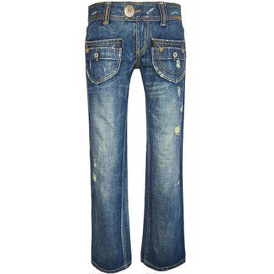 香港品牌Salad藍色刷色口袋造型靴型長褲 W27