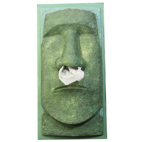 (I LOVE樂多)智利復活島迷你Moai巨像衛生紙盒moai (青色)摩艾實用 裝置藝術 送人自用兩相宜