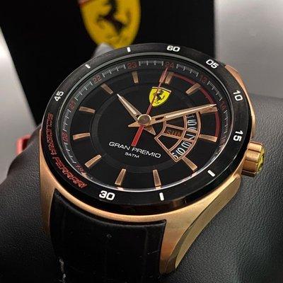 FERRARI法拉利男錶,編號FE00023,42mm銀圓形精鋼錶殼,黑色三眼, 運動錶面,銀色精鋼錶帶款