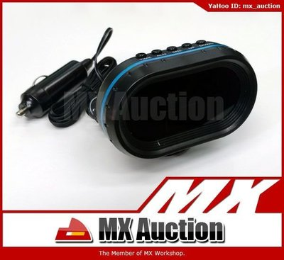 MX Auction - [VF-008] 汽車 冷光 座檯 電子鐘 電壓錶 內外溫度計 12V 24V 可用 (黑色)