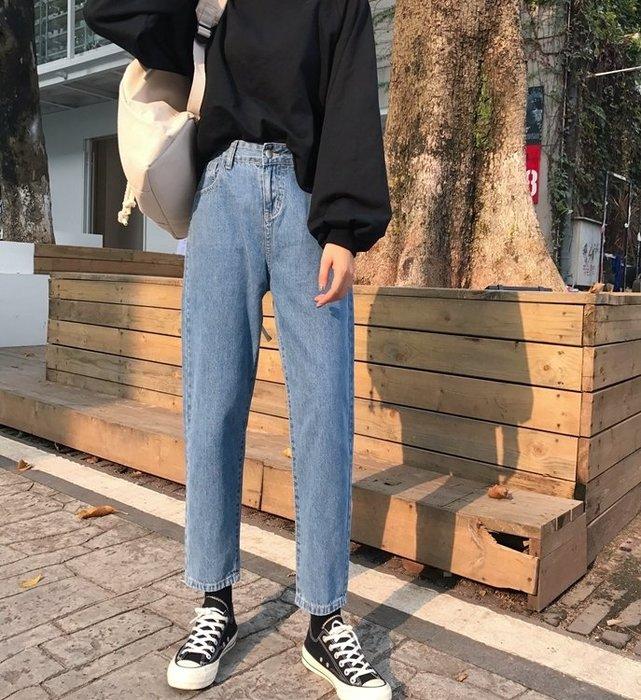 牛仔褲正韓秋裝新款寬鬆直筒褲牛仔褲女簡約純色哈倫褲學生九分褲