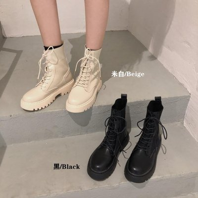 馬丁靴馬丁靴女針織靴秋季新款時尚英倫風...