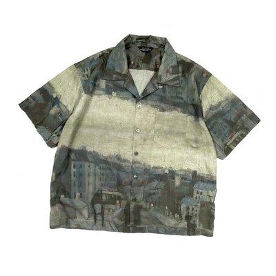 UNUSED梵高油畫夜景短袖襯衫復古夏威夷度假風花襯衫