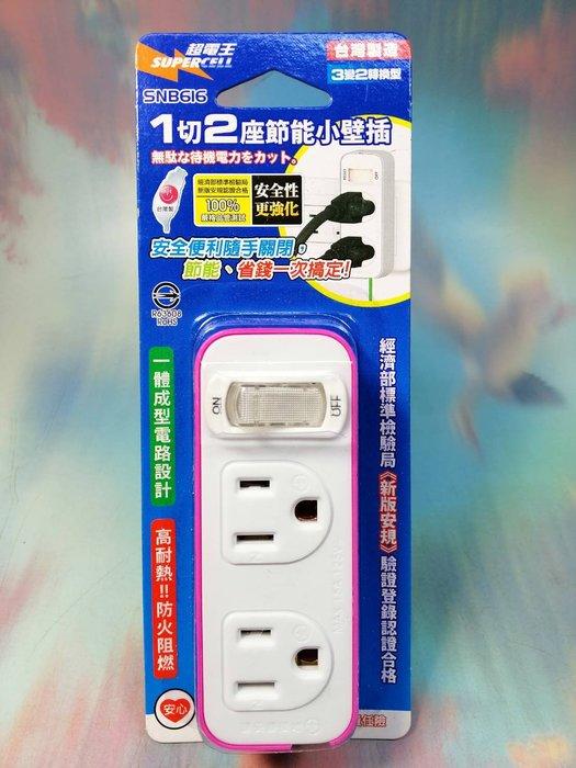 【超電王 1切2座節能小壁插 SNB616】527151 轉換插頭 電源轉接頭 充電座 插座 壁插【八八八】e網購