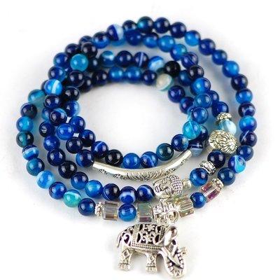 「還願佛牌」泰國 佛牌 鍊 鏈 串珠款 項鍊 單掛 經典 小象 大象 花紋藍瑪瑙   鑫