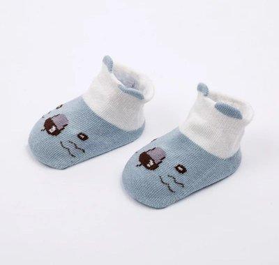 Osmileooo-藍色小動物嬰兒防滑襪子 船襪 bb襪