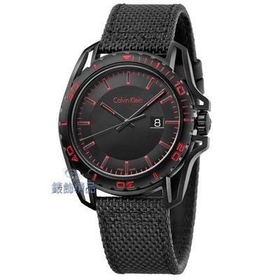 【錶飾精品】CK錶 K5Y31ZB1 紳士運動款 日期 黑面黑框紅時標 黑帆布皮帶男錶 全新原廠正品