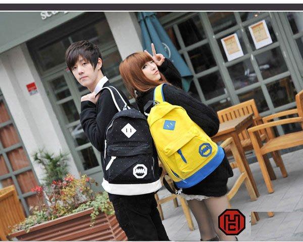 5Cgo 【鴿樓】會員優惠 12627142296 中學生書包雙肩包 男式女士韓版潮電腦包帆布旅行運動背包