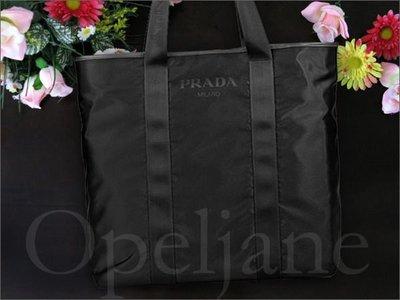 真品保證 義大利製造 Prada Logo 防水尼龍大購物包托特包肩背包皮包市價28000元 保證卡防塵袋 免運費