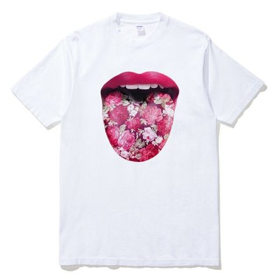 Floral Tongue 短袖T恤 白色 歐美潮牌花舌頭設計藝術插圖印花潮T
