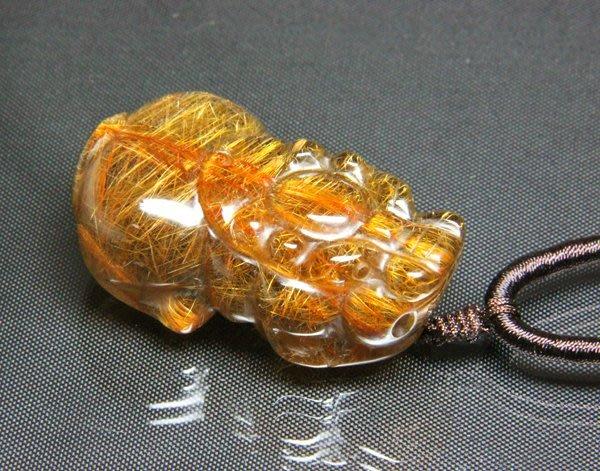下標區【小熊水晶窩】天然紅銅鈦晶貔貅墜子+紅銅鈦晶手鍊A1