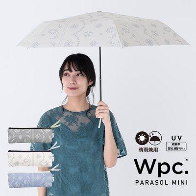 ♡預購 【1S WP 49】Wpc. PARASOL 1級遮光 遮熱。遮光 折傘 MINI 蕾絲印花 灰/白/淺藍