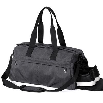 運動包健身包男運動訓練包干濕分離大容量手提行李包女潮單肩包斜挎包旅行包 火山灰(鞋位款)