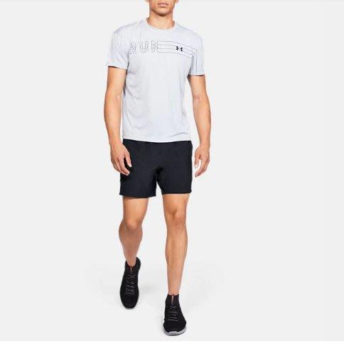 [麥修斯] UA 7吋 Speed Stride 短褲 機能 訓練 運動 舒適 黑白 男款 1326568-001