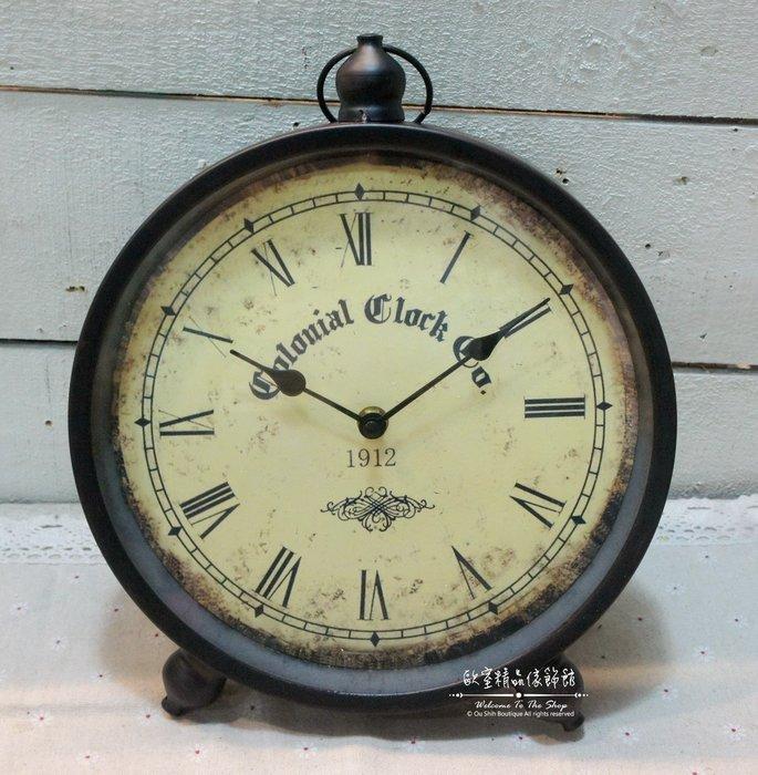 ~*歐室精品傢飾館*~Loft工業 美式鄉村 鐵製 簡約 復古 羅馬數字造型 桌鐘 時鐘 黑色 擺飾 裝飾~新款上市~