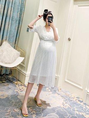 套裝 夏裝 寬鬆棉紗孕婦連衣裙夏季兩件套2019新款修身顯瘦孕婦裝夏天裙子中長款