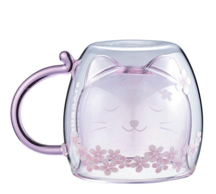 天使熊雜貨小舖~starbucks 星巴克貓咪賞櫻雙層玻璃杯 容量:300ml  全新現貨