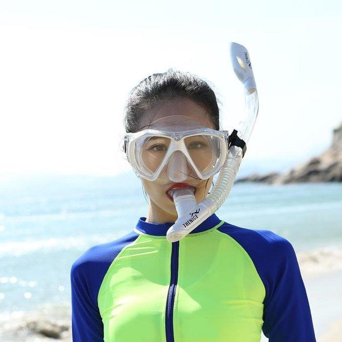 呼吸管 THENICE潛水鏡浮潛三寶裝備面罩全干式呼吸管面鏡成人兒童