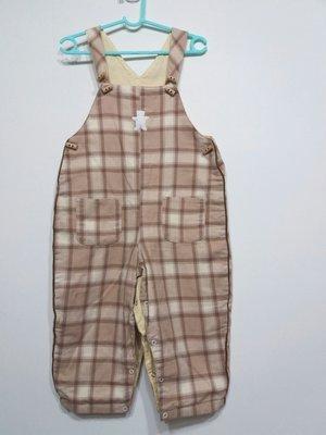 姐妹一起清 Jacadi 23M/86公分 春秋冬 格紋吊帶長褲 白色熊 男女寶都適穿