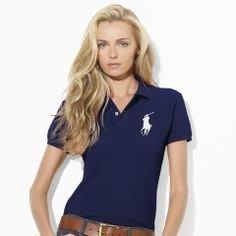 【Polo Ralph Lauren】RL 女生 女裝大人 大馬短袖POLO衫 網眼POLO衫 深藍色