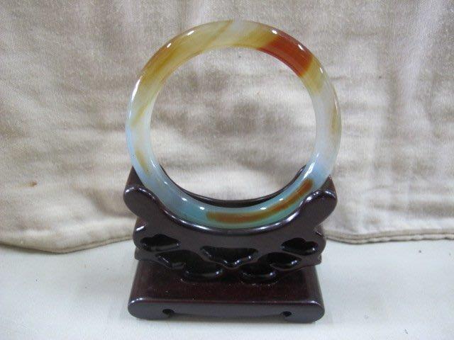 二手鋪 NO.4119 天然頂級三彩玉髓 手環 玉環 玉鐲 手鐲 首飾飾品
