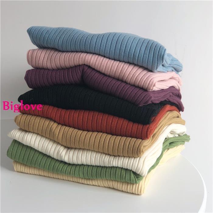 Biglove 復古小眾秋冬季打底單穿坑條兔絨純色修身針織衫純色毛衣