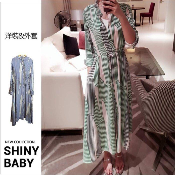 夏娃 SHINY BABY* 首波免運長洋&外套線條綁帶顯瘦襯衫長裙/韓國同步連身裙 MELODY款 大碼可[C866]