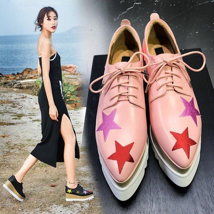Fashion*厚底鞋 松糕鞋 真皮尖頭坡跟系帶鞋 英倫刺繡星星高跟鞋