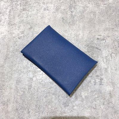 Hermes Calvi卡包 Epsom 7E Blue Brighton 布萊頓藍《精品女王全新&二手》